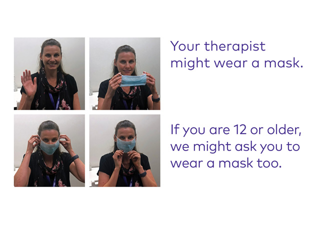 photo of therpaits putting on a mask