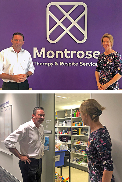 Craig Crawford MP meeting Montrose CEO, Kerrie Mahon