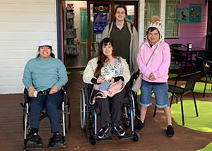 A group of ladies visitng Mount Tamborine while staying at Mopntrose Short Term Accommodation