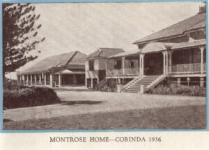 A black and white photo of the Montrose home at Corinda